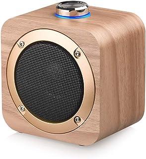 Acphtab Universal Wooden Wireless Speaker Wood Subwoofer HiFi Stereo Bass Mini Music Speaker for Home Outdoor Travel Portable Audio Phone Player