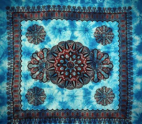Telo Arredo Copritutto Grande Crochet 210x230 cm 100% Cotone Indiano Stampato Copri divano Gran foulard con Frange (Azzurro)