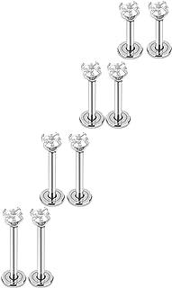 4 Paia 16 Gauge Orecchini a Bottone in Acciaio Inossidabile Cubico Zirconia Cartilagine Trago Spirale Piercing a Barretta ...