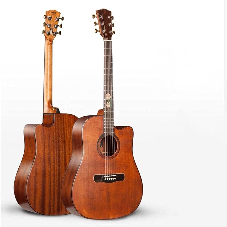 Guitarra Guitarra acústica de 41 Pulgadas, Tapa de Spruce sólido, Corte de Esquina acústica de Corte Guitarra de Madera AMINÍ (Size : 41 Inches)