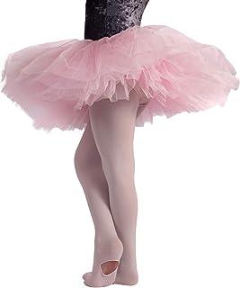 CALZITALY Mädchen Convertible Ballett Strumpfhosen mit Fersenloch   Rosa   4/6, 8/10,12/14 Jahre   80 DEN   Made in Italy