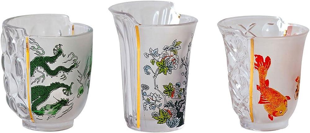 Seletti ,set 3 bicchieri in vetro hybrid-aglaura Ø cm.8 h. 9,3/10,7 09734