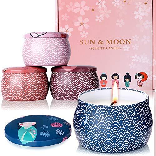 AYOUYA Geisha Duftkerzen Set von natürlichem Sojawachs Sakura Aroma Kimono Japanischer Stil Kerzen für Entspannung Yoga SPA Bad Geschenk