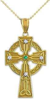 14k Yellow Gold Celtic Trinity Diamond Cross Pendant Necklace with Emerald
