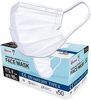 Iris Ohyama, Paquete de 50 Mascarillas Quirúrgicas 3 Capas BFE 98 %, Easy Fit V-Design tipo II, Solo Uso, Elástico Antiirr...