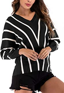 LUKYCILD Women Fall Winter Bat Sleeve V Neck Striped Pirnt Knit Sweater Pullover Top