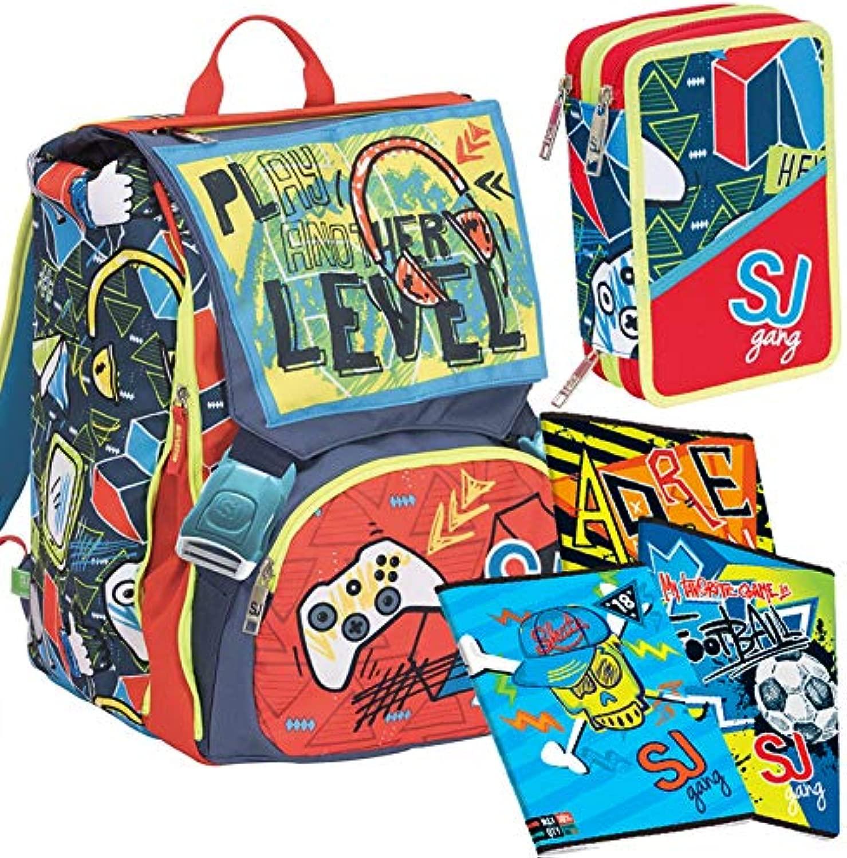 Schoolpack seven zaino sdoppiabile sj gang boy rosso 2C2001901 + astuccio 3 zip sj 3C2011901 + 5 quaderni sj gang boy per elementari righe quadretti