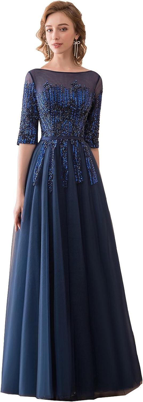 Ikerenwedding Women's 1 2 Sleeves Scoop Beaded Sequins Tulle Evening Dress