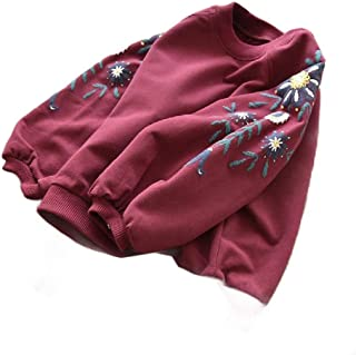 WUFAN Girl Floral Printed Soft Athletic Autumn Shirt Long Sleeve Hoodies