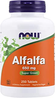 NOW Supplements, Alfalfa 650 mg source of Vitamin K, Green Superfoods, 250 Tablets