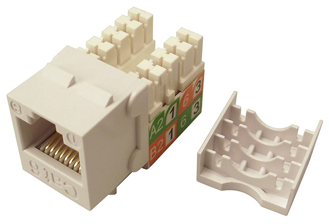 Shaxon BM703W810-B, Category 6 Keystone Jack, RJ45 to 110 - White