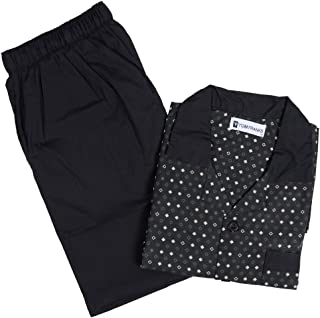 Mens Pattern Cotton Soft Pyjama PJ Nightwear Set - Black & Brown Diamonds Large