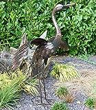 Creekwood - Statue d'Oiseau Grue en Bronze 39 x 44 x 64 cm Taille S - Ailes vers Le Bas 39 x 44 x 64...