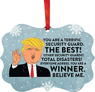 Andaz Press President Donald Trump Fancy Frame Keepsake Christmas Ornament Gag Gift, Security Guard, 1-Pack, Funny Novelty Metal Holiday Birthday Present Ideas Republican Political Satire