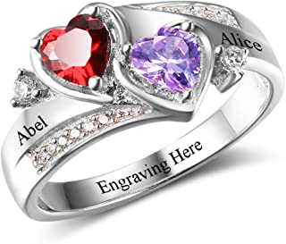 Diamondido Personalized Simulated Birthstones Promise Rings for Her Engraved Names Engagement Rings Bridesmaid Gifts