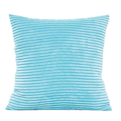 Funda de cojín de felpa sofá cintura Cojín de tiro cubierta funda de decoración casera By LMMVP (45X45cm/18X18, Azul cielo)