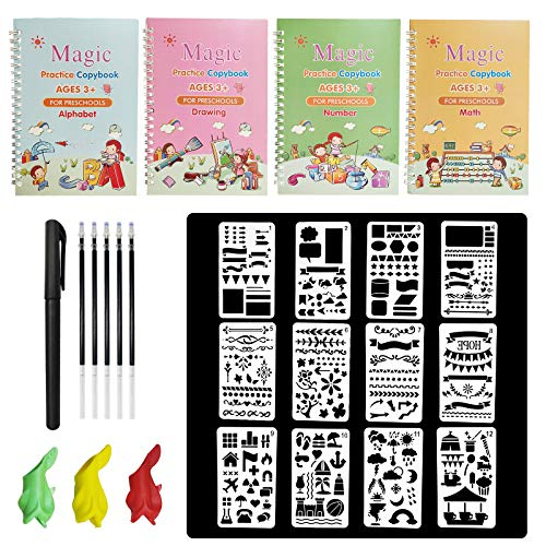 4 Pack Magic Practice Copybook Set, Handwriting Workbook for Math, Alphabet, Numbers and Drawing, Lifepigment Copybook, Reusable Calligraphy Tracing Copybook with Pen & Aid Pen Grip (Style B)