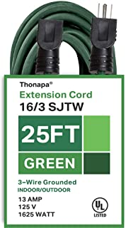 Thonapa 25 Ft Outdoor Extension Cord - 16/3 SJTW Durable Green Cable - Great for Garden and Major Appliances