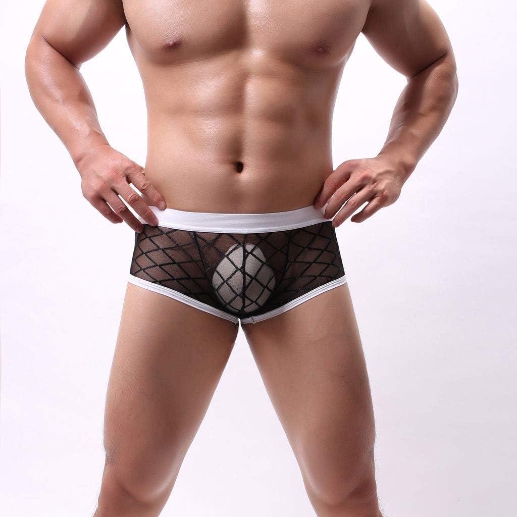Women Intimates Sexy, Men Profile Low-Waist Sexy Underwear Rhombus Mesh Perspective Underwear