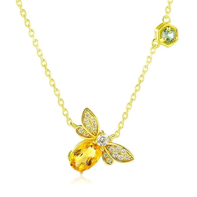 ペンフレンド夕方韓国925スターリングシルバーインレイ宝石用原石のネックレス女性、蜂のペンダント鎖骨チェーン、天然シトリンペリドットネックレス、美しいギフト