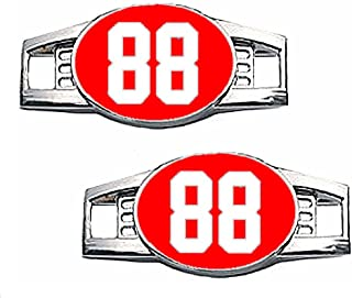 Number Charms (00-99) Jersey Style in Team Colors for Shoelace / Paracord (Red & White)