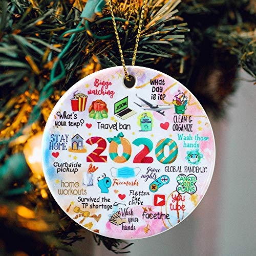 JSJOY Two-Side Printed 2020 Christmas Ornament 2020 Quarantine Oranments for Christmas Tree Round Ceramic Commemorative Pandemic Ornament Christmas Decorations