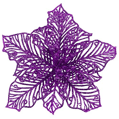 24 Pcs Christmas Purple Glitter Mesh Holly Leaf Artificial Poinsettia Flowers Stems Tree Ornaments 6.6' W for Purple Christmas Tree Wreath Garland Gift Floral Winter Wedding Holiday Decoration