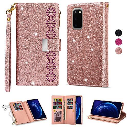 ZTOFERA Folio Wallet Case para Samsung Galaxy S20 FE, Glitter Carving Zipper Bolso con 9 ranuras tarjetas y correa de muñeca, soporte magnético Flip Funda protectora FE 5G - Oro rosa