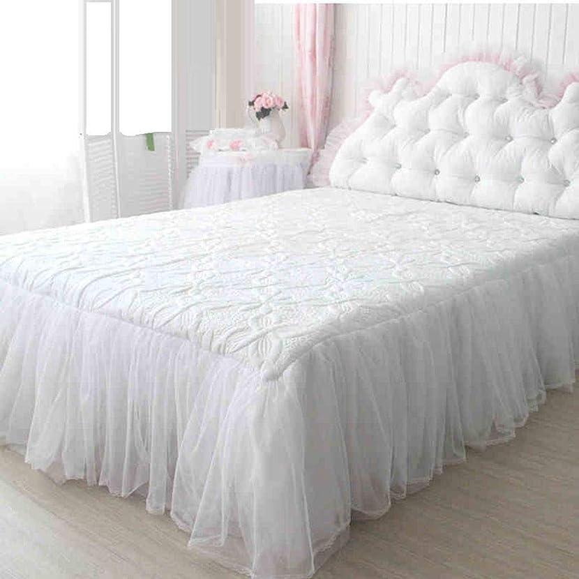 速度壊滅的なソファーキルティング ベッドスカート,白 レース プリンセス ベッドスカート 防塵スカートスカート 王の女王 サギング マットレスカバー-白-180×200センチメートル(71×79で)