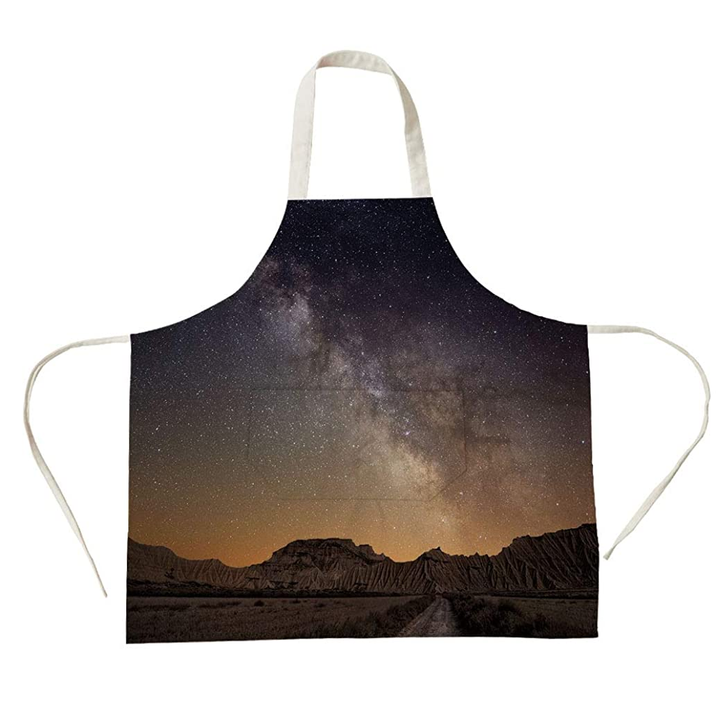 3D Printed Cotton Linen Big Pocket Apron,Night,Milky Way Over Desert of Bardenas Spain Ethereal View Hills Arid Country Decorative,Plum Apricot Chocolate,for Cooking Baking Gardening