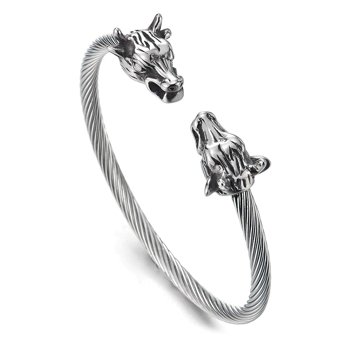メロドラマティック女王猟犬COOLSTEELANDBEYOND メンズ ステンレススチール ビンテージ 雄牛の頭 ツイストケーブル バングル カフブレスレット パンクロック 調整可能