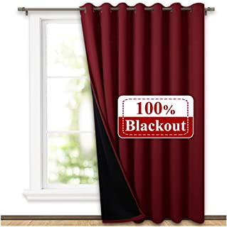 NICETOWN Thermal Insulated 100% Blackout Drape, Noise Reducing Performance Slider Curtain Panel with Black Lining, Full Light Blocking Patio Door Drapery (Burgundy Red, 1 PC, 100 inches x 84 inches)