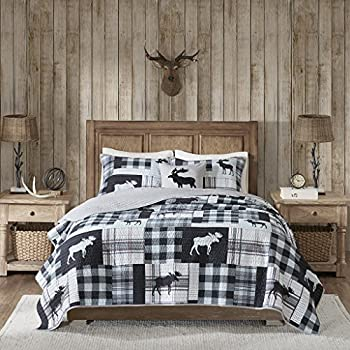 Woolrich Reversible Quilt Cabin Lifestyle Design All Season Breathable Coverlet Bedspread Bedding Set Matching Shams Full/Queen 92 x96   Moose Black/Grey 4 Piece