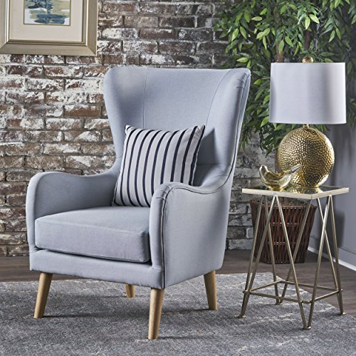 Christopher Knight Home Sandra Wingback Fabric Club Chair, Light Grey/Natural