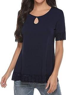 Camiseta de Manga Corta Casual Talla Grande para Mujer Cuello Redondo Flare Blusa Suelto Verano Algodón T-Shirt Tops de Encajes