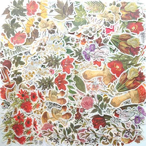 NAXIEE 240PCS Jahrgang Blume Großer Aufkleber Set,Pflanzen Dekoration Washi Aufkleber,für Scrapbooking, DIY Kunsthandwerk, Album, Planer, Laptop und Kalender