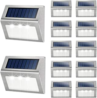 Solar Deck Lights, KASUN Super Bright LED Walkway Light Stainless Steel Waterproof Outdoor Security Lamps for Patio Stairs Garden Pathway - White Light, Pack of 12