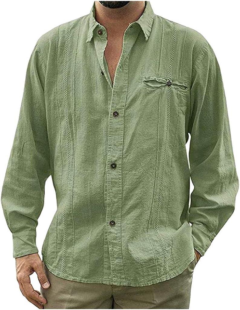 UBST Casual Shirts for Mens, Fall Cotton Linen Long Sleeve Button Down Lapel Collar Shirt Fashion Loose Beach Tops
