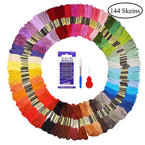 Fuyit Stickgarn Embroidery Threads 144 Docken Sticktwist Nähgarne Stickerei Basteln Crafts Floss Set 8m 6-Fädig Bunt Multicolor für Kreuzstich Basteln Freundschaftsbänder Nähgarne Häkeln
