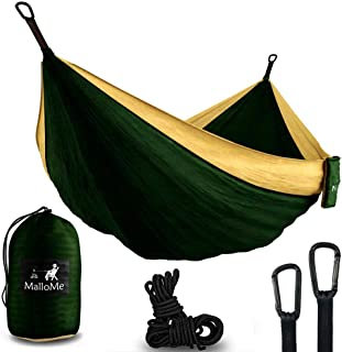 MalloMe Hammock Camping Portable Double Tree Hammocks - Outdoor Indoor 2 Person Beach Accessories – Backpacking Travel Equipment Kids Max 1000 lbs Breaking Capacity - Two Carabiners Free …