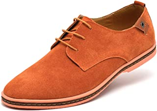 YND Men's Suede Leather Lace Up Derby Shoes, Classic Plain Toe Oxford