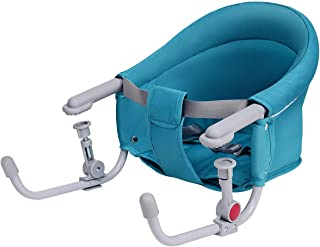 Costzon Hook On Chair, Clip on High Chair w/Tight Fixing Clip, Iron Pipe Frame, Machine-Washable Fabric, Storage Pocket, Portable Feeding Seat for Home Restaurant Travel, Baby Fast Table Chair (Green)