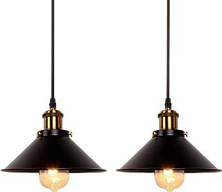 Newrays 2 Pack Industrial Retro Black Iron Kitchen Restaurant Bar Balcony Hanging Pendant Light