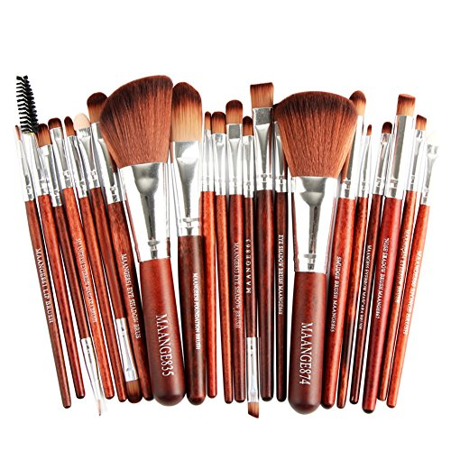 MRULIC 22pcs Make UP Pinsel Pinselset Schminkpinsel Kosmetikpinsel Kosmetik Brush Kunstleder Etui (A)