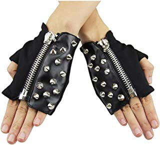 SGJFZD Women Men Steampunk Gothic Half Finger Gloves Zipper and Rivet Gear Accessories Punk Rock Cosplay Props Sexy Gloves (Color : Yellow, Size : S-Ten Pairs)