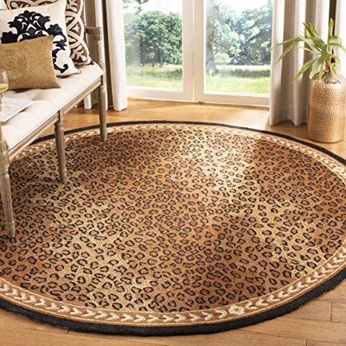 Safavieh Chelsea Collection HK15A Hand-Hooked Black and Brown Premium Wool Round Area Rug (4' Diameter)