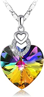 PLATO H Brave Heart Rainbow Color Pendant Necklace with Swarovski Crystal Love Heart Necklace, Heart Shape Neckalce, Woman...