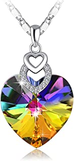 Brave Heart Rainbow Color Pendant Necklace with Swarovski Crystal Love Heart Necklace, Heart Shape Neckalce, Woman Girls Fashion Pendant Necklace, Jewelry Necklace Gifts for Woman Girls