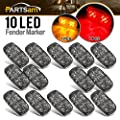 "Partsam 14x Red/Amber Double Bullseye led Marker Light Side Marker Light Smoke Lens, Tiger Eye/Double Bubble LED Marker Lights, 4"" Rectangular Rectangle Led Truck Trailer RV Camper Light"