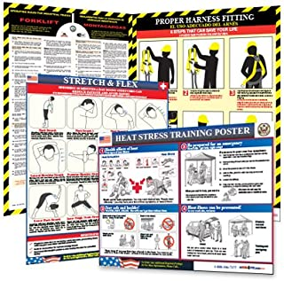 Construction Safety Posters - Harness Safety, Forklift, Heat Stress & Stretch & Flex Poster